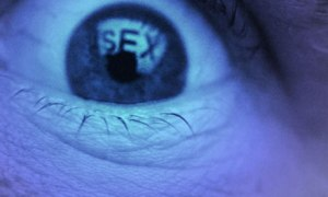 Eye with the word sex reflected off of computer screen