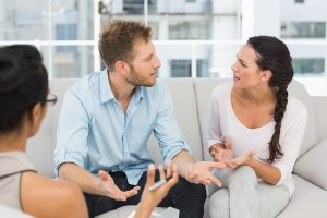 Couple arguing in therapy
